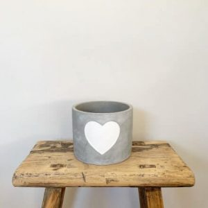 cement pot white heart