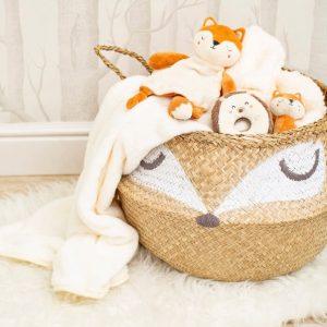 woodland fox seagrass basket
