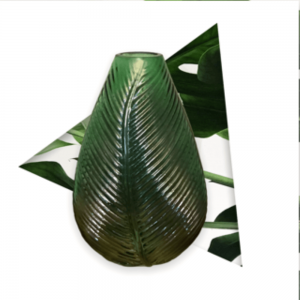 botanical green leaf vase