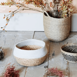 white rope seagrass basket
