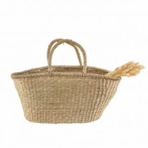 vintage style seagrass shopper