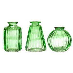 green glass vintage vases