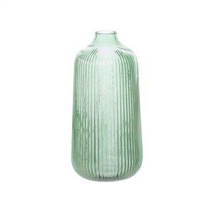 GREEN GLASS FLUTE VASE
