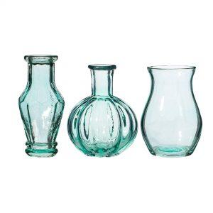 BLUE GLASS VINTAGE VASES