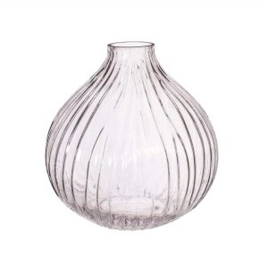 clear glass fluted vase